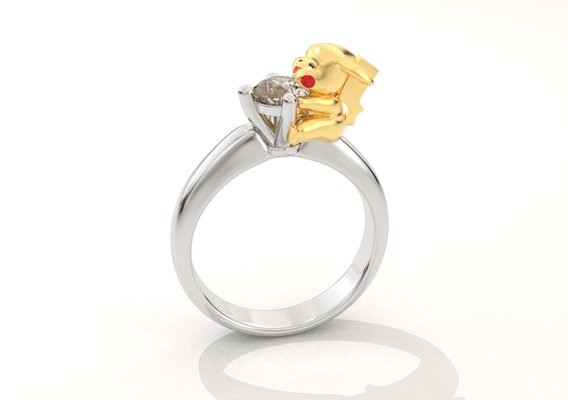 Pickachu ring with diamond