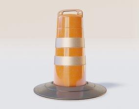 traffic Barrel Barricade with pbr textures 3D asset