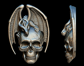 Dragon Skull Relief 3D printable model