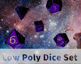 Purple Metal Dice Set 3D model game-ready
