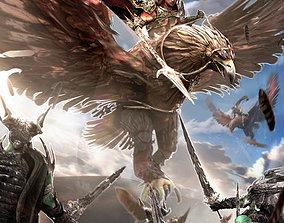 Giant Eagle with warrior Kit bash 3D model