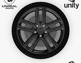 Wheel Steel-Chrome Dark Alloy Rim Audi 19 3D asset 3
