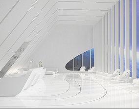 3D model Sci-fi white interior 03