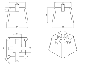 Mold for casting of deck blocks made of concrete 3D 2