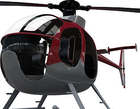 3D model rigged low-poly Helicopter