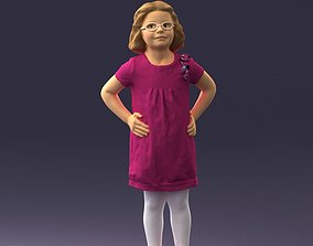 Little girl in a pink sundress and glasses 3D print model