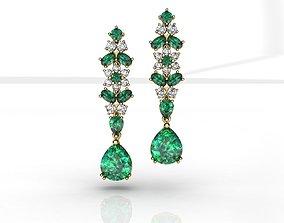 3D print model Emerald Pear Diamond Earrings