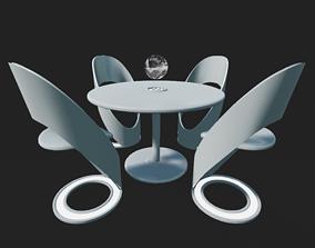Futuristic Dining Table Set 3D asset