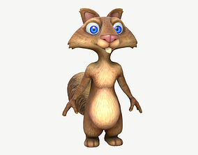 3D asset low-poly Cartoon Squirrel