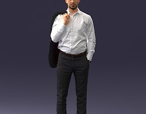 Businessman holds jacket 0116 3D Print Ready visualisation