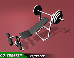 Chest Inclined Bench Gym Machine low poly 3D asset