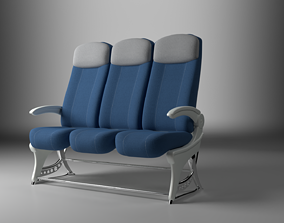 Economy Class Airplane Fabric Seats 3D asset