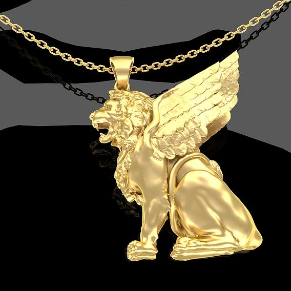 Winged LION Pendant jewelry Gold 3D print model