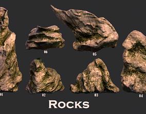 Stones in greenery 3D model