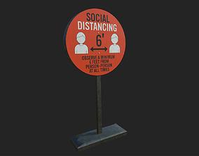 Social Distancing Signage 3D asset