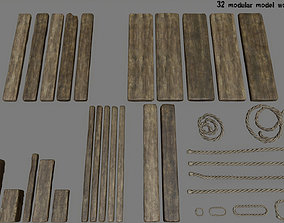 3D asset game-ready woods and ropes