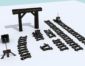 3D asset Medieval Mine Cart Tracks - Modular