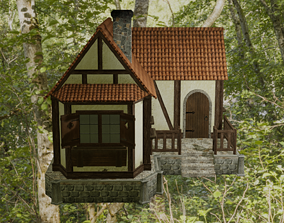 3D asset VR / AR ready PBR Medieval House model
