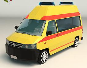 3D model Low Poly Ambulance 03