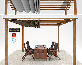 3D model Paragon Florence Pergola with Table and chairs 2
