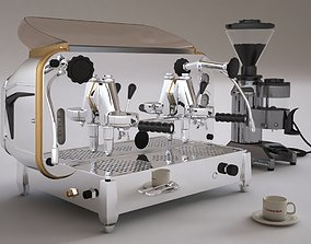 Faema e61 espresso machine and FP Grinder with a coffee 3D