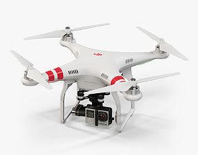 3D model DJI Phantom 2 Quadcopter with GoPro HERO4