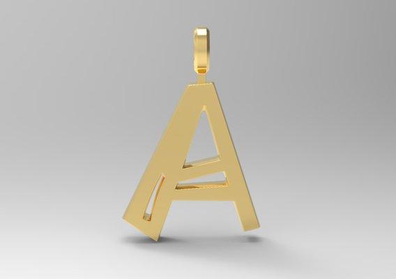 A Letter Pendant Gold