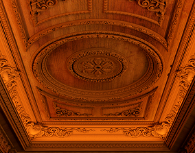 Classical wooden ceiling carved cnc 2 3D model