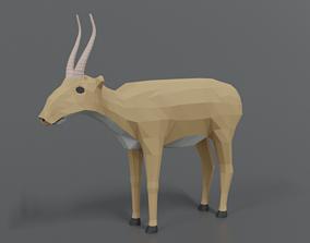 3D asset Low Poly Cartoon Saiga Antelope