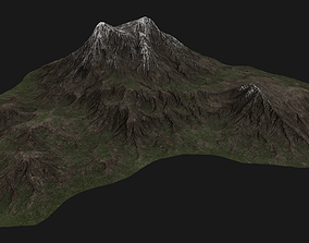 3D model Mountain Landscape with Snow Covered Peaks