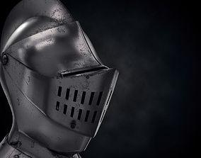 3D model game-ready Medieval Knight Armet Helmet