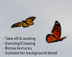 3D asset Background Butterflies and Moths Animated