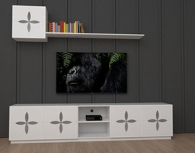 Classic TV Stand with floating shelves 3D model