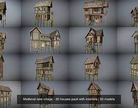 3D model Medieval lake village - 20 houses pack with