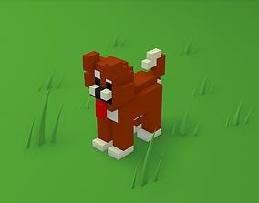 3D model Voxel cartoon dog game ready