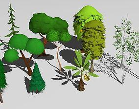 cartoon trees 3D model game-ready