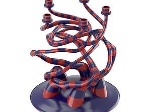 Striped candelholder with organic form 3D model