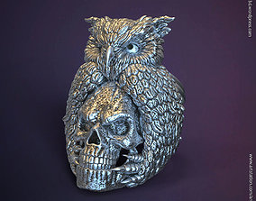 3D printable model SKull and owl vol1 ring