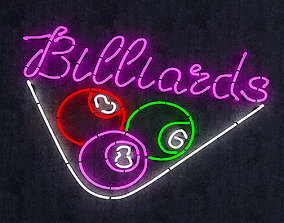 Neon Billiards Sign 3D asset low-poly