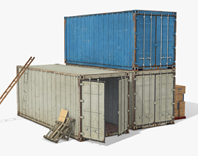 Industrial Cargo Containers 3D asset