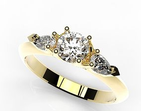 3D print model Ring engagement gold and diamonds three