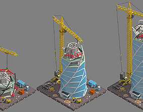 Stages of building a skyscraper in a low poly 3D model