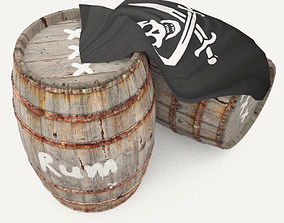 3D model Rum wooden barrels - pirate style