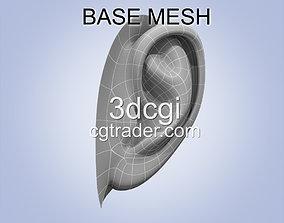ear 3d model base mesh game-ready