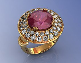 3D printable model Ruby Gold Cocktail Ring with Diamond