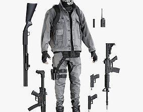 3D asset Terrorist Man Uniform With Equipment