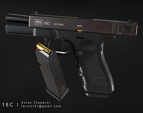 Glock 18C Pistol PBR Lowpoly Gameready Asset realtime
