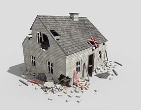 3D asset destroyed house 3