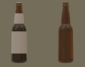 Beer bottles full and empty 3D asset