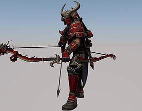 3D model animated warrior man
